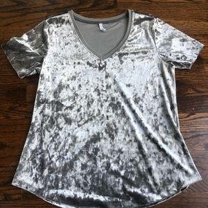 Z Supply Crushed Velvet Gray V-neck Tshirt